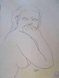 Lithograph Volti - Portrait de femme de face