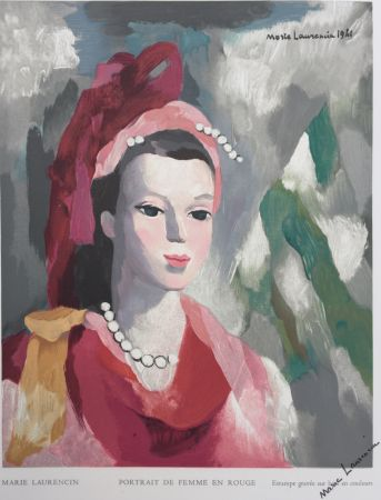 Woodcut Laurencin - Portrait de Femme en rouge