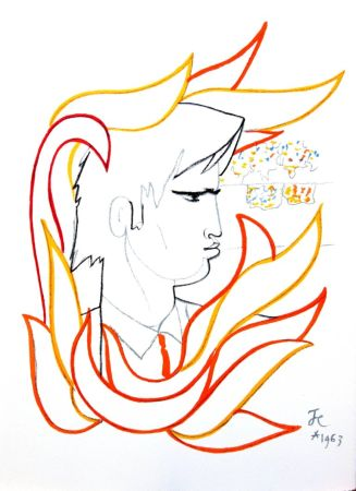 Lithograph Cocteau - Portrait de Feu