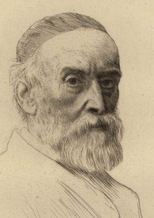 Etching Legros - Portrait de G.F. Watts R.A.