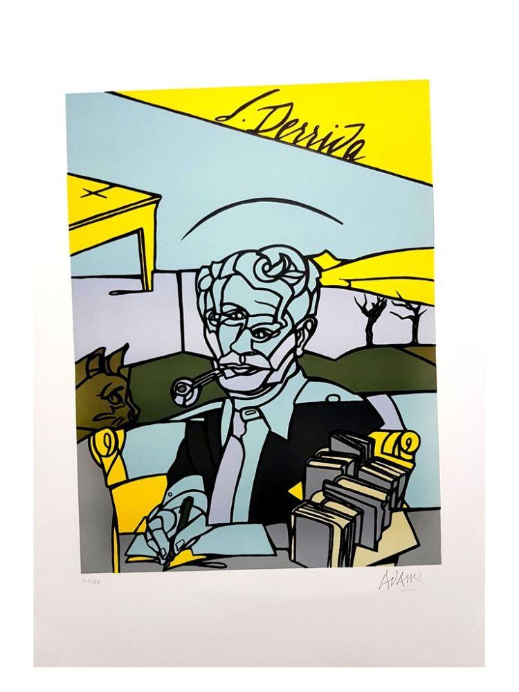 Lithograph Adami - Portrait de Jacques Derrida