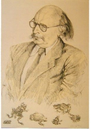 Lithograph Foujita - Portrait de Jean Rostand