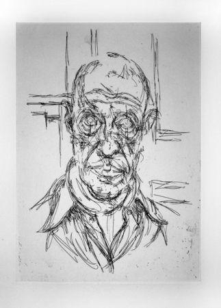Etching Giacometti - Portrait de Michel Leiris