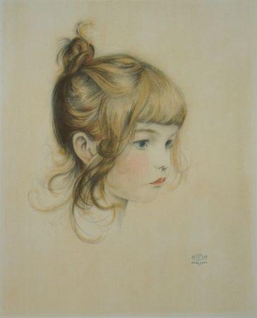 Lithograph Sauer - Portrait de Nicole