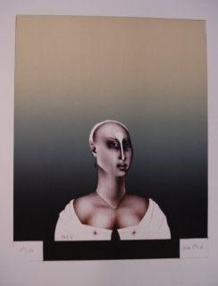 Lithograph Wunderlich - Portrait d'une dame