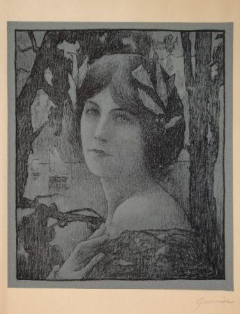 Lithograph Guinier - (Portrait d'une jeune femme)
