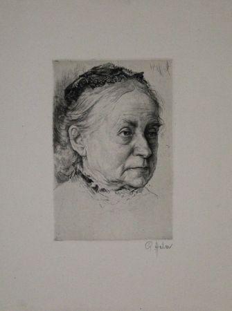 Etching Halm - Portrait einer alten Dame