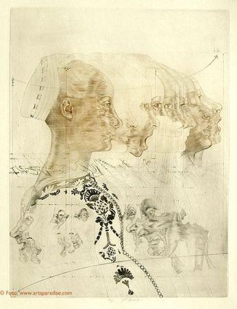 Engraving Anderlê - Portrait eines Mädchens nach Veneziano (1979)