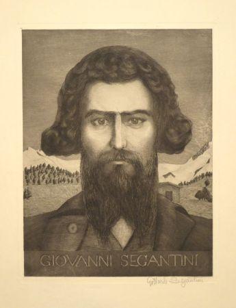 Etching Segantini - Portrait Giovanni Segantini