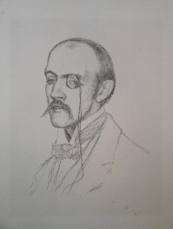 """Lithograph Rysselberghe - Portrait """"Henri de Regnier"""""""