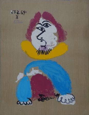 Lithograph Picasso - Portrait Imaginaire - Homme au col jaune