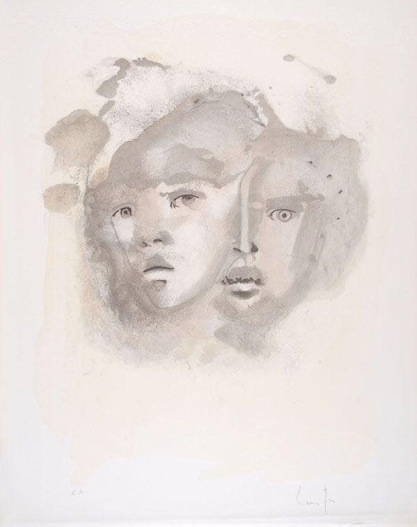 Lithograph Fini - Portrait imaginaire brun