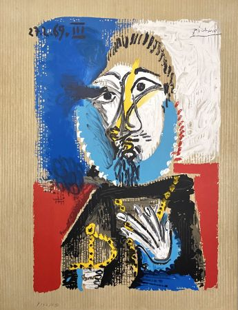 Lithograph Picasso - Portrait Imaginaires 27.3.69 III