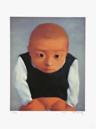 Lithograph Xiaogang - Portrait of a boy