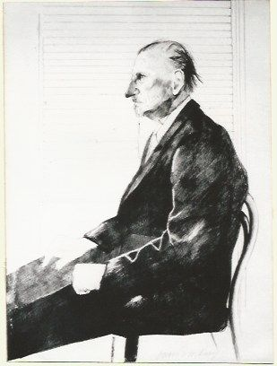 Lithograph Hockney - Portrait of Felix Mann