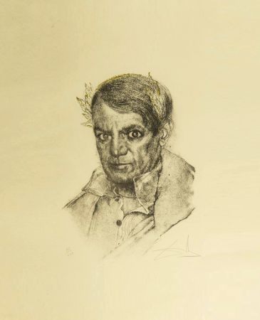 Etching Dali - Portrait of Picasso