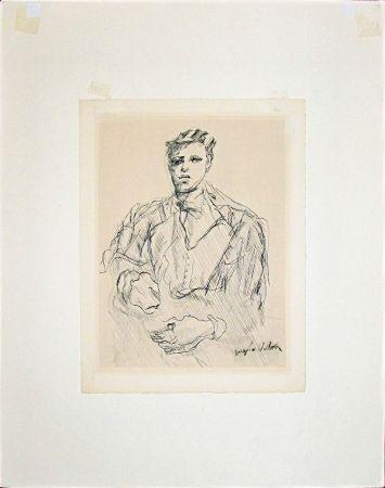 Etching Villon - Portrait of Rimbaud