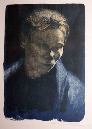 Lithograph Kollwitz - Portrait of working class woman with blue towel