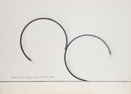 Screenprint Venet - Position of Two Major Arcs of 257.5 Degrees Each