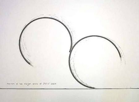 Screenprint Venet - Position of two major arcs of  257,5 degres each
