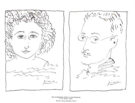 Lithograph Picasso - Pour La Rehabilitation de Ethel et Julius Rosenberg  et de Morton Sobel