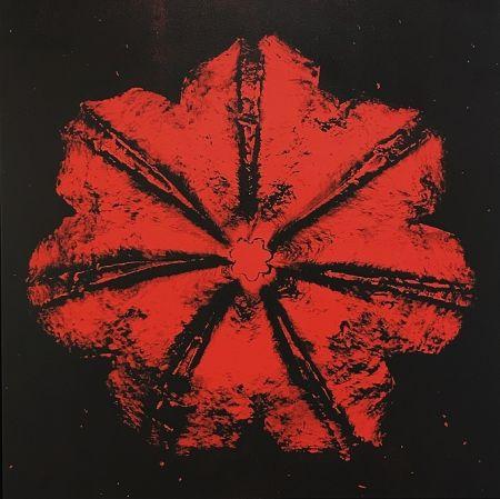 Screenprint Robierb - Power Flower N-1 (Red on Black)