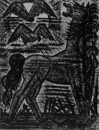 Engraving Gromaire - Présage, cheval noir, et oiseaux de nuit