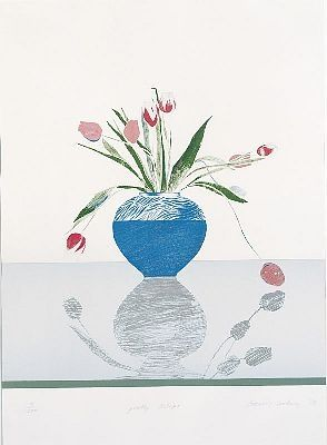 Lithograph Hockney - Pretty Tulips