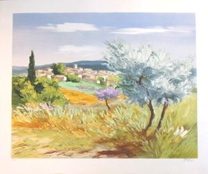 Lithograph Zarou - Printemps a lorgues