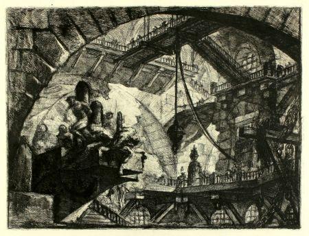 Etching Piranesi - Prisoners on a projecting Platform (Carceri X)