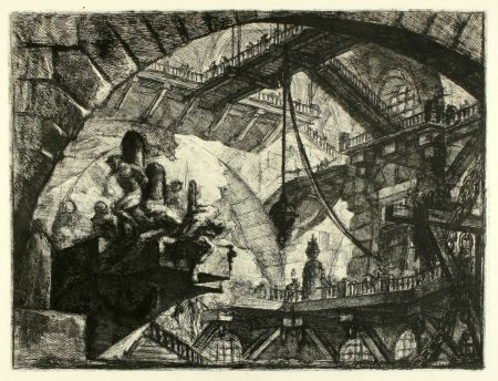 Etching Piranesi - Prisoners on a Projecting Platform (No. 10 from