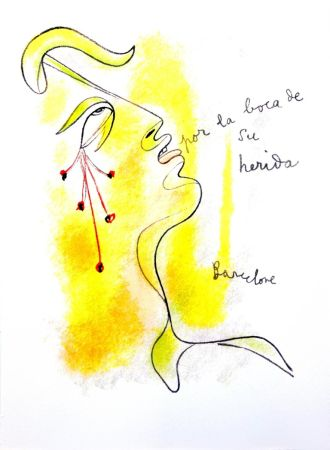 Lithograph Cocteau - Profil