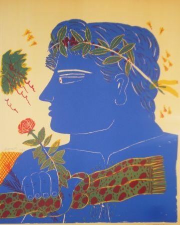 Lithograph Fassianos - Profil bleu à la rose