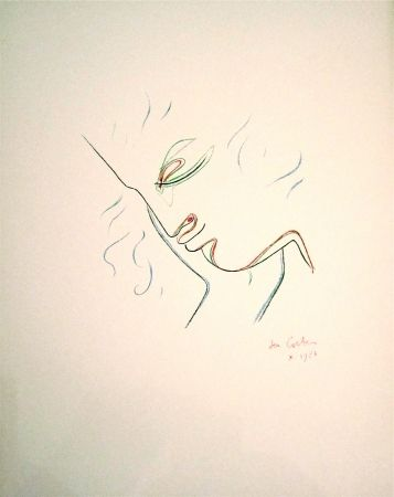 Lithograph Cocteau - Profil de garcon en couleur