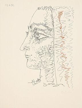 Lithograph Picasso - Profil en trois couleurs