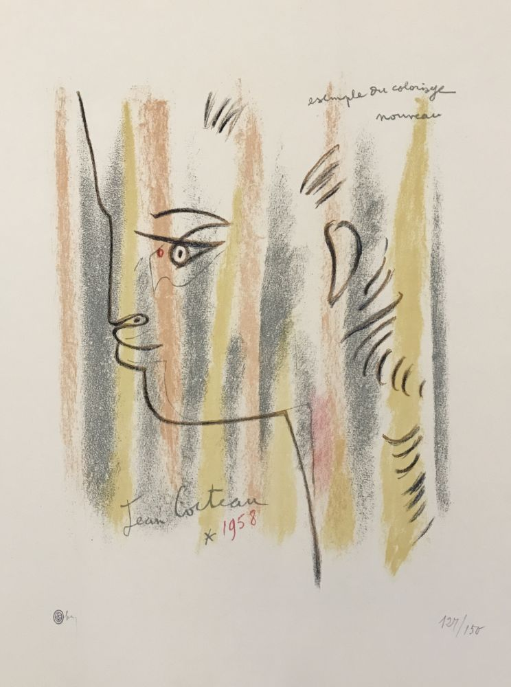 Lithograph Cocteau - Profile in Yellow, Pink, and Green