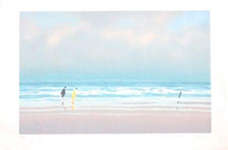 Lithograph Doutreleau - Promenade a la plage