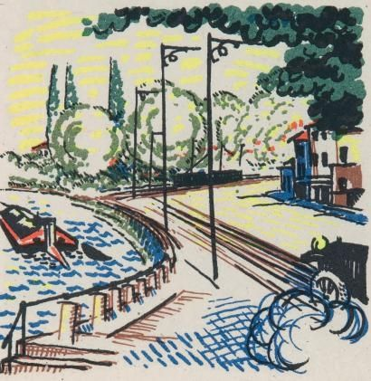 Illustrated Book Laboureur - Promenade avec Gabrielle. Texte et images lithographiés en couleurs par Jean Giraudoux et Jean-Emile Laboureur.