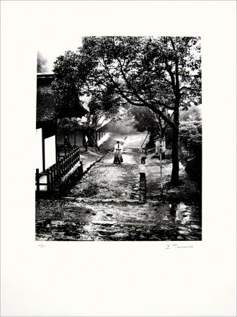 Lithograph Tourenne - Promenade dans la brume - Japon