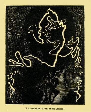 Woodcut Kupka - Promenade d'un trait blanc