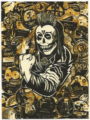 Screenprint Fairey - Psycho Posse Gold