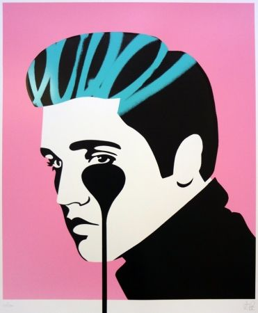 Screenprint Pure Evil - Pure Elvis - King Creole (pink, black & green)