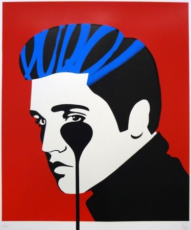 Screenprint Pure Evil - Pure Elvis - The Number One (blue & red)
