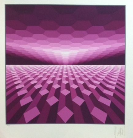 Screenprint Yvaral - Purple horizon