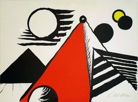 Lithograph Calder - Pyramid Rouge