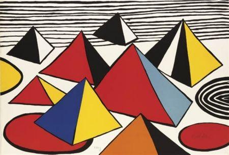 Lithograph Calder - Pyramides