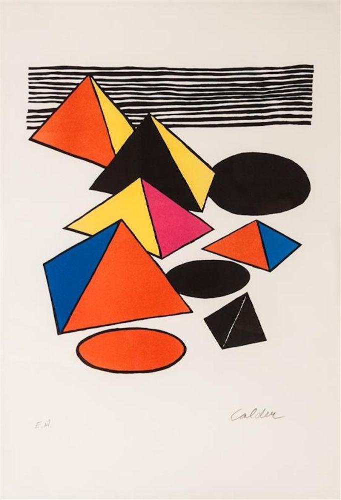 Lithograph Calder - Pyramids And Circles