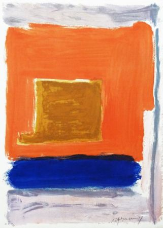 Etching Ràfols Casamada - Quadrat i taronja