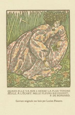 Woodcut Pissarro - Quand elle va sur l'herbe... / Girl Picking Flowers