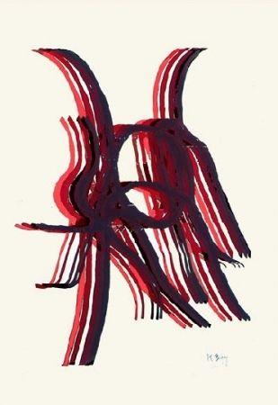 Lithograph Bury - Quatre bâtons entre deux